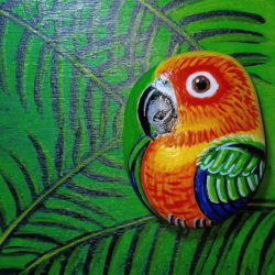 """Воркшоп роспись морской гальки """"Попугай сидит на ветке, яркой красочной расцветки"""""""