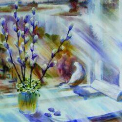 """Воркшоп роспись морской гальки """"Чиста небесная лазурь, теплей и ярче солнце стало"""""""